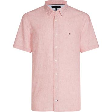 Cotton Linen Shirt S/s - 658 Fiery Red
