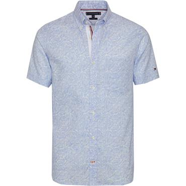 Slim Co/li Leaf Print Shirt S/s - 902 Snow White/chambray Blue