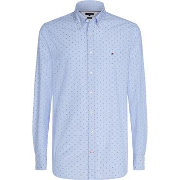 Micro Clipped Dobby Shirt - Shirt Blue