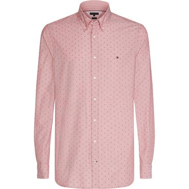 Micro Clipped Dobby Shirt - Haute Red