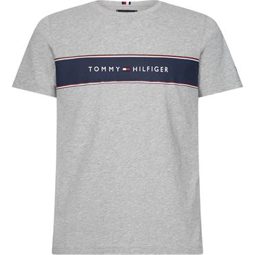 Tommy Hilfiger Logo Chest Stripe T - CLOUD HEATHER