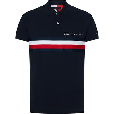 Th Global Stripe Chest Polo - Navy