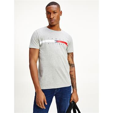Tommy Hilfiger Global Stripe Chest T - Grey