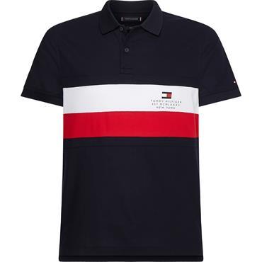 Tommy Hilfiger Chest Stripe Slim Polo - Navy