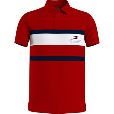 Tommy Hilfiger Chest Stripe Slim Polo - RED