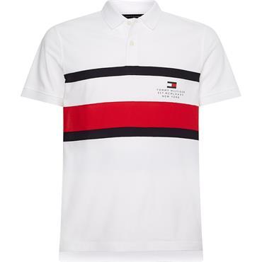 Tommy Hilfiger Chest Stripe Slim Polo - White
