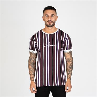 Nimes Stripe T - Burgundy White