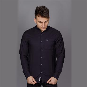 Grandad Collar Oxford Shirt, Dark Saphire - Penguin