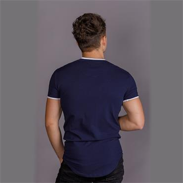 Siksilk S/s Curved Hem Taped Gym Tee - NAVY