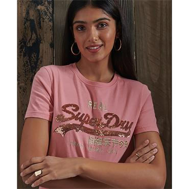 VL SEQUIN TEE - Smoke Rose