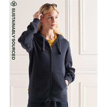 Superdry Womens Zip Cotton Hood - ECLIPSE NAVY