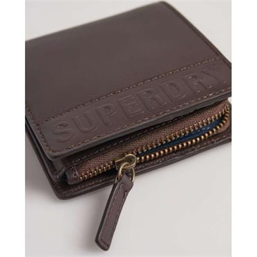 Superdry Vermont Bifold Leather Wallet - BROWN CHECK