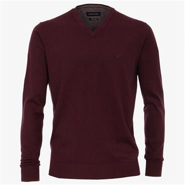 V-Neck Pima Cotton Jumper - 443WINE