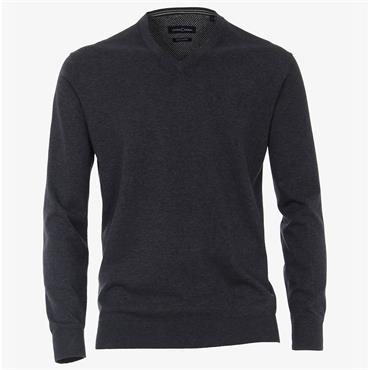 V-Neck Pima Cotton Jumper - Blue