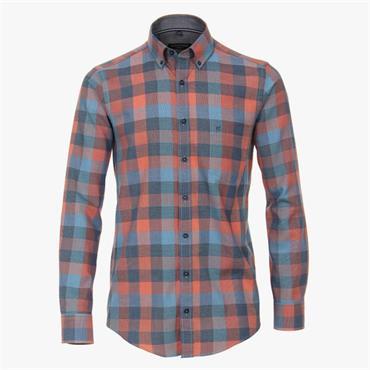 Long Sleeve Gingham Print Shirt - Blue Red Check