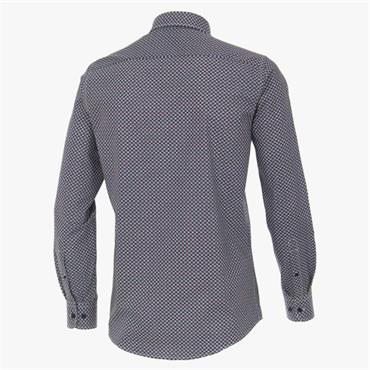Long Sleeve Dot Print Shirt - Navy