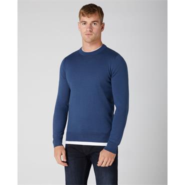 Round Neck Merino Wool Jumper - BLUE