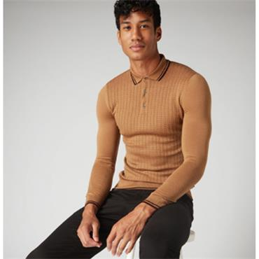 LS Knitted Polo - 45 CARAMEL
