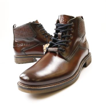 Bugatti Lace Boot Side Zip - Brown