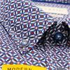 Short Sleeve Print Design Shirt - Dark Blue