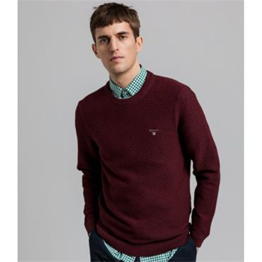 Gant Cotton Pique Crew - Port Red