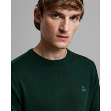 Gant Crew Neck Cotton Jumper - Tarten Green