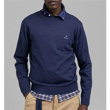 Gant Crew Neck Cotton Jumper - Dark Jeansblue Melange