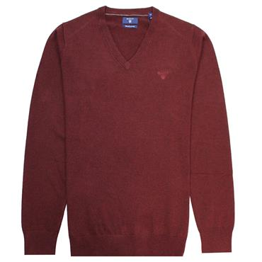V NECK LT. WEIGHT COTTON JUMPER GANT - Burgundy Melange