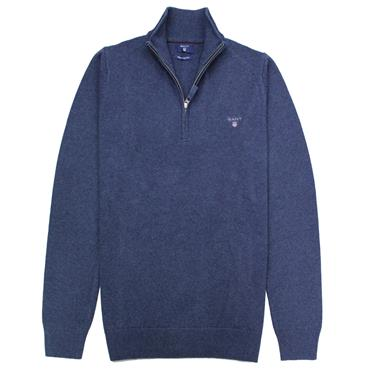 Contrast Cotton 1/2 Zip   Gant - BLUE