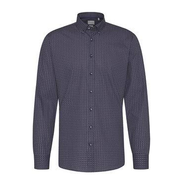 Crosshatch Print Design Shirt - Red Blue Design
