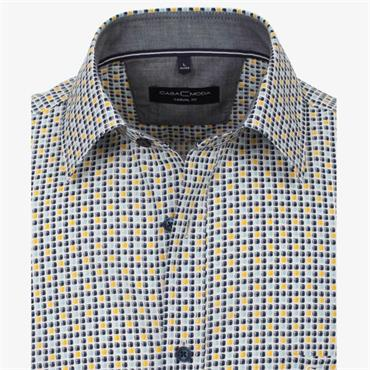 Short Sleeve Small Square Print Shirt - Blue Yellow
