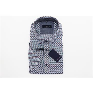Short Sleeve Print Design Casual Shirt - MULTI STRIPE