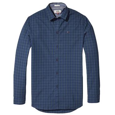 TOMMY  CHECK SHIRT  TJM - 904 INDIGO