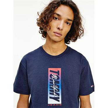 Vertical Logo Organic Cotton T-Shirt - Navy