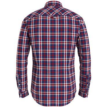 TJM Stretch Poplin Check Shirt - CRIMSON