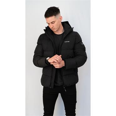 CK Crinkle Nylon Puffa Jacket - BLACK