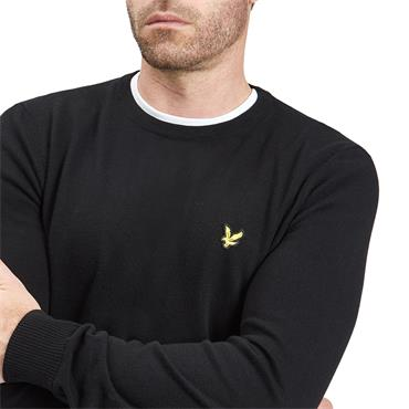CREW NK COTTON MERINO JUMPER  LYLE&SCOTT - BLACK