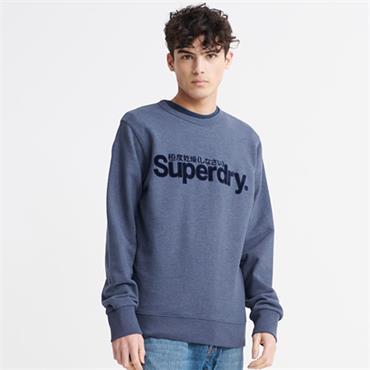 Superdry Logo Faux Crew - Blue Marl