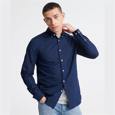 Superdry Linen Button Down L/s Shirt - INDIGO