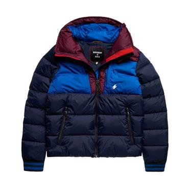 Sports Puffer Block Jacket - Navy