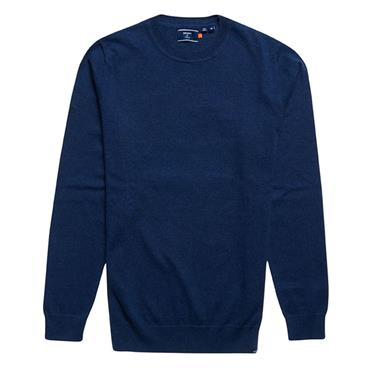 Vintage Emb Cotton Crew Neck Jumper - BLUE