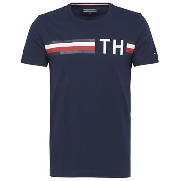 STRIPED LOGO GRAPHIC TEE S/S   HILFIGER - NAVY