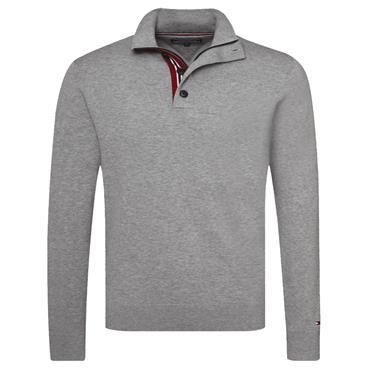 STRIPE DETAIL  1/2 ZIP JUMPER  HILFIGER - Lt Grey Htr
