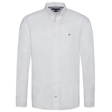 DOBBY COTTON LINEN SHIRT  HILFIGER - BRIGHT WHITE