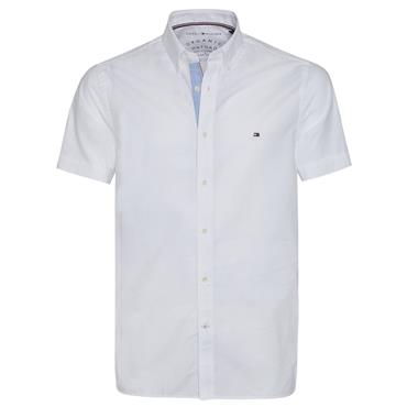 OXFORD SLIM ORGANIC S/S SHIRT  HILFIGER - Bright White