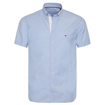 OXFORD SLIM ORGANIC S/S SHIRT  HILFIGER - 474BLUE