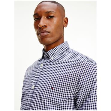 Hilfiger Slim Natural Soft Gingham Shirt - Navy/White