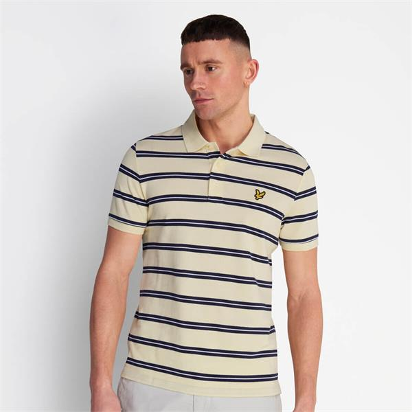 Lyle & Scott Wide Double Stripe Polo - Buttercream