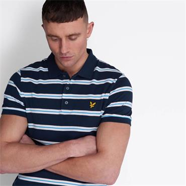 Lyle & Scott Wide Double Stripe Polo - Navy