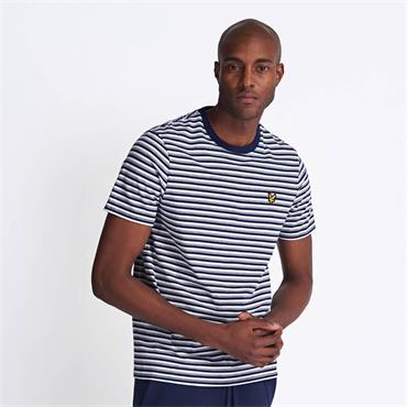 Lyle & Scott Stripe Ringer Tee - Navy
